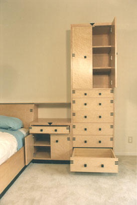Birdseye and ebony bedroom cabinets